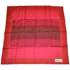 Pierre Cardin Whimsical Shades of Ruby Red Striped Silk Scarf