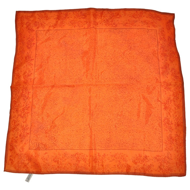 Vera Warm Tangerine with Scattered Floral Borders Scarf For Sale