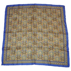 Blue Lapis Border with Multi Palseys Silk Scarf