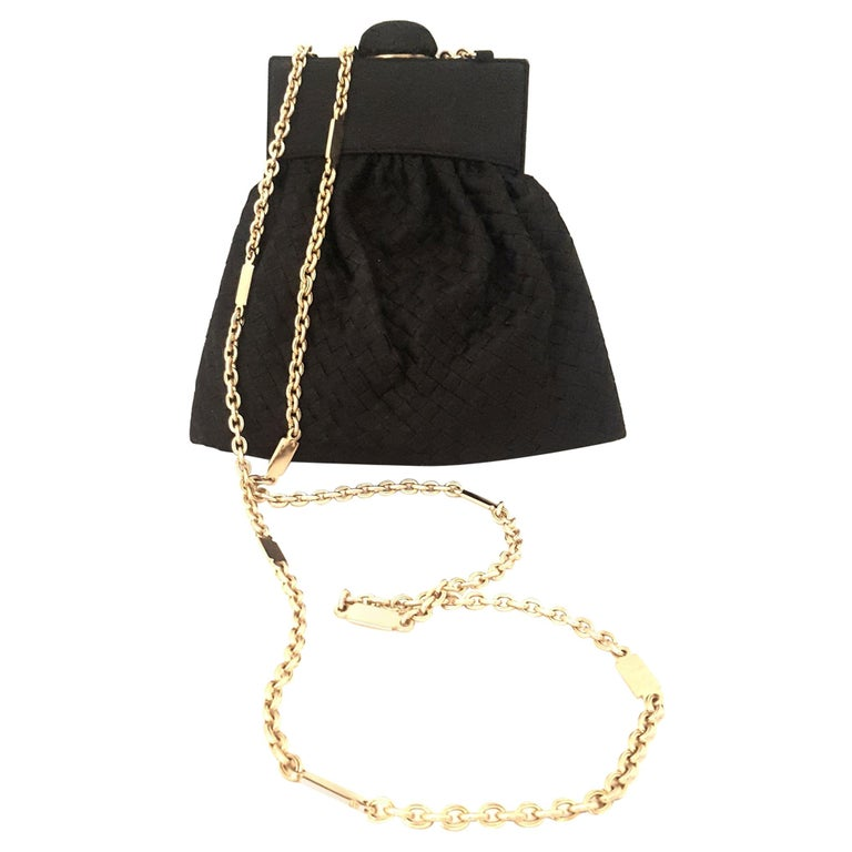 Bottega Veneta Vintage Black Intrecciato Mini Bag W/ Gold Tone Chain Strap
