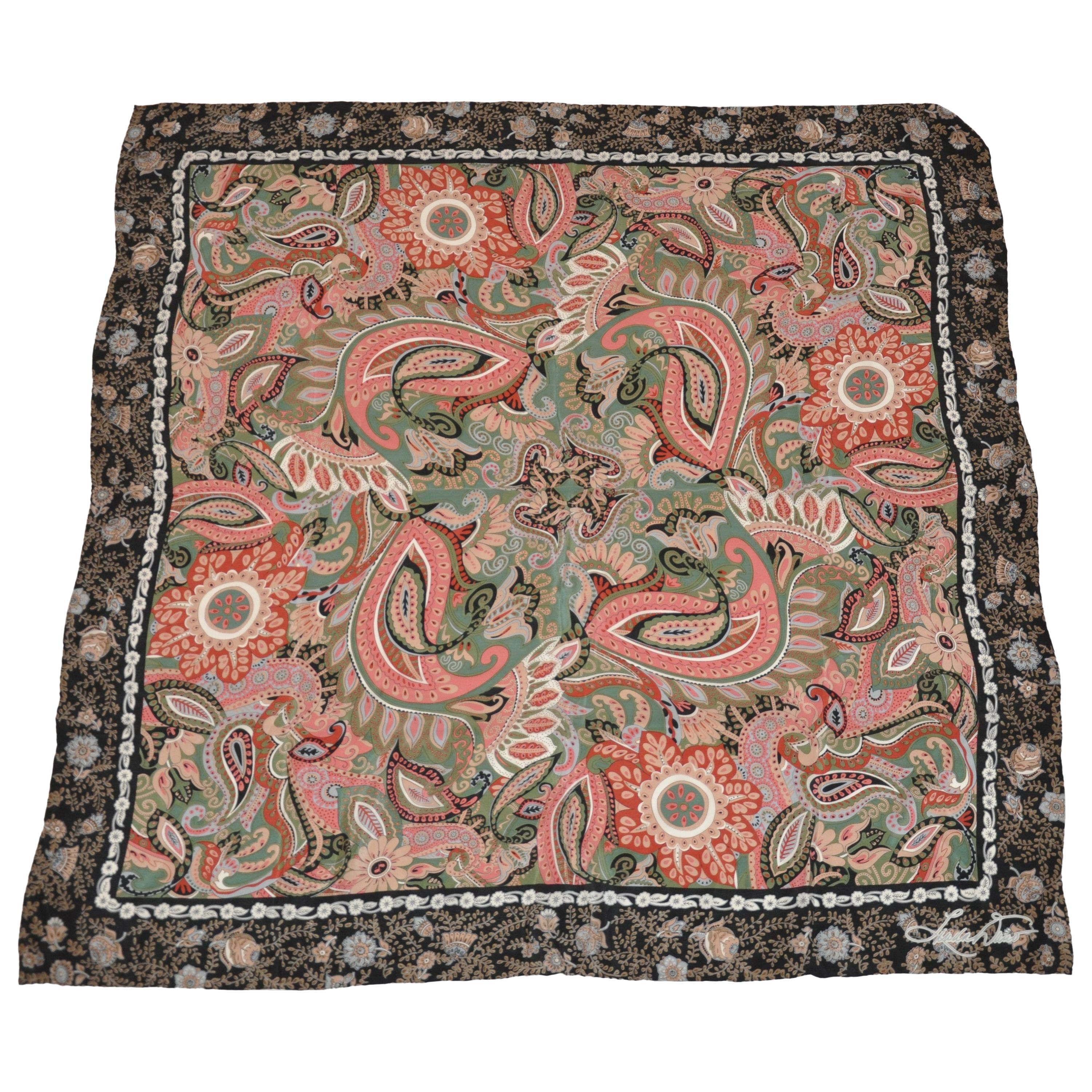 Huge Linda Duno Midnight Blue Floral Border with Whimsical Florals Silk Scarf