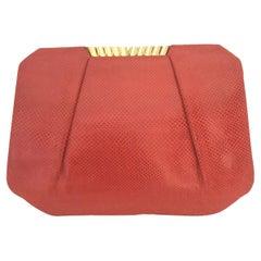 Judith Leiber 1970's Vintage Red Karung Snakeskin Bag