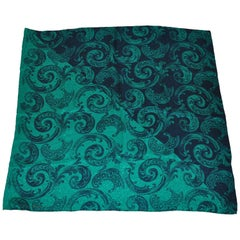 Jeannene Booher for Maggy London Large Rich Emerald & Black Palsey Silk Scarf
