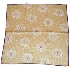 "Golden ""Floral Snowflakes"" with Burgundy Borders Silk Jacquard Scarf"