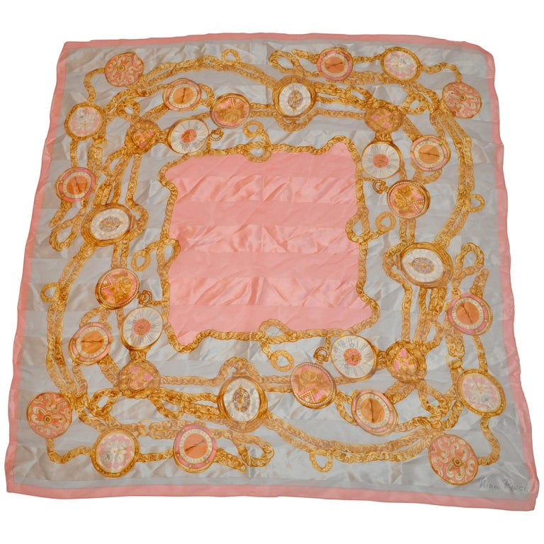 "Nina Ricci Beautifully Elegant ""Hands of Time"" Silk and Silk Chiffon Scarf For Sale"