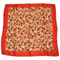 "Jean Ete Red Border with Multi-Color ""Abstract Lighting"" Silk Scarf"