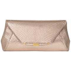 TYLER ELLIS Aimee Clutch Large Rose Gold Python Gold Hardware