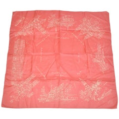 "Elegant Coral Hue with Ivory ""Scenes of Old London"" Silk Scarf"
