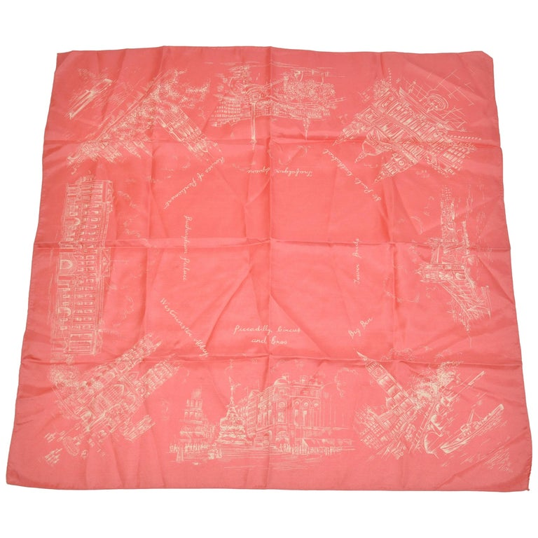 "Elegant Coral Hue with Ivory ""Scenes of Old London"" Silk Scarf For Sale"