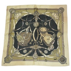 "Mondi Gold & Black Detailed ""Riding Gear"" Silk Jacquard Scarf"