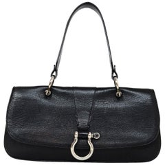 Burberry Black Leather Top Handle Flap Bag W/ Silver Ring Snap Flap Closure