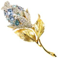 Ciro of Bond Street & NY Crystal Flower Brooch 1950s