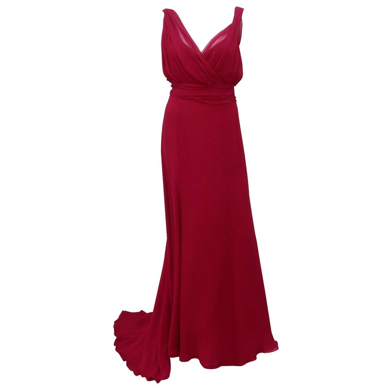 Monique Lhuillier Red Silk D Dess Dress For