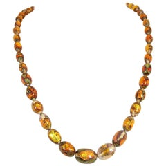 Venetian Fire Opal Foiled Glass Bead Necklace 1950s