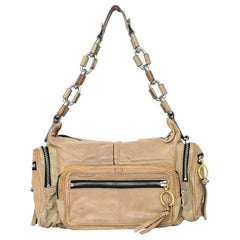 Chloe Beige Leather Multi Pocket Zipper Shoulder Bag