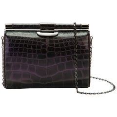 TYLER ELLIS Anjuli Clutch Medium Black/Purple Alligator Gunmetal Hardware