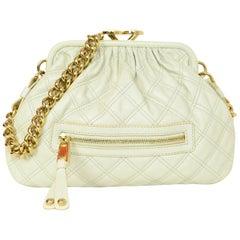Marc Jacobs Cream Quilted Frame Stam Shoulder Bag W/ Goldtone Chain Strap