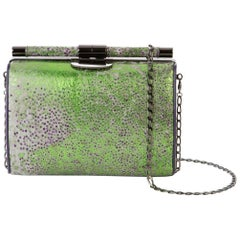 TYLER ELLIS Anjuli Clutch Medium Green/Purple Psychedelic Fish Gunmetal Hardware