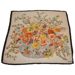 "Huge Tibi Coco-Brown Borders Surrounding ""Basket of Wild Florals"" Silk Scarf"