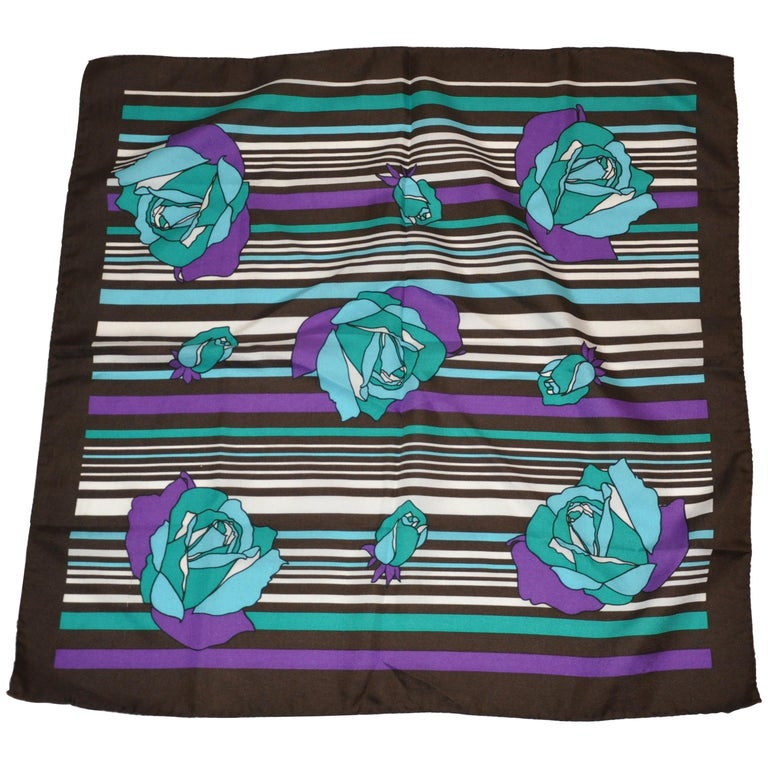 "Vivid ""Roses & Stripes with Black Borders Scarf For Sale"