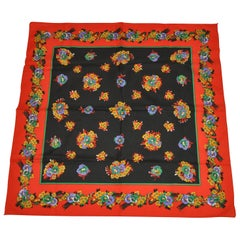 Vivid and Colorful Multi-Color Floral Red Border Scarf