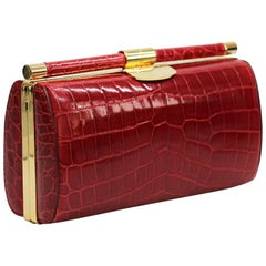 TYLER ELLIS Anjuli Clutch Large Red Crocodile Gold Hardware