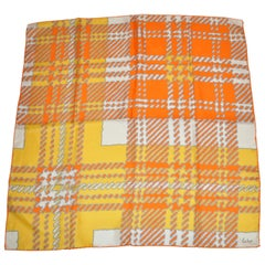 Echo Wonderfully and Vividly Bold Tangerine, Ivory, Yellow & Gray Silk Scarf