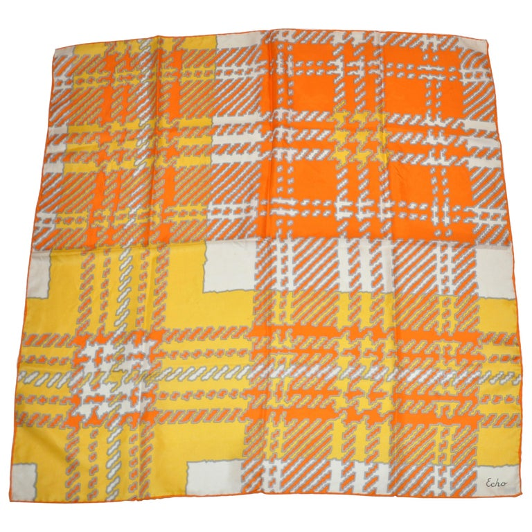 Echo Wonderfully and Vividly Bold Tangerine, Ivory, Yellow & Gray Silk Scarf For Sale