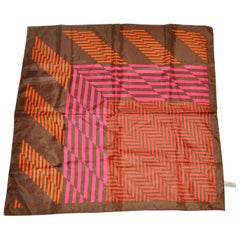 Coco Brown Borders with Abstract Tangerine & Fuchsia Stripes Scarf