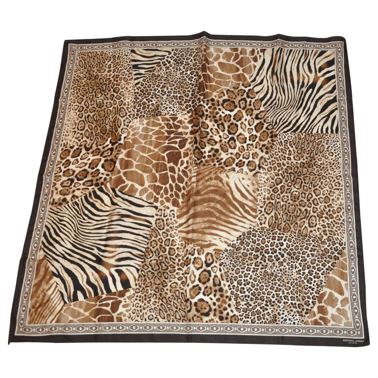 "Adrienne Landau Multi Shades of Browns & Cream ""Lions, Tigers and Leopard"" Scarf For Sale"