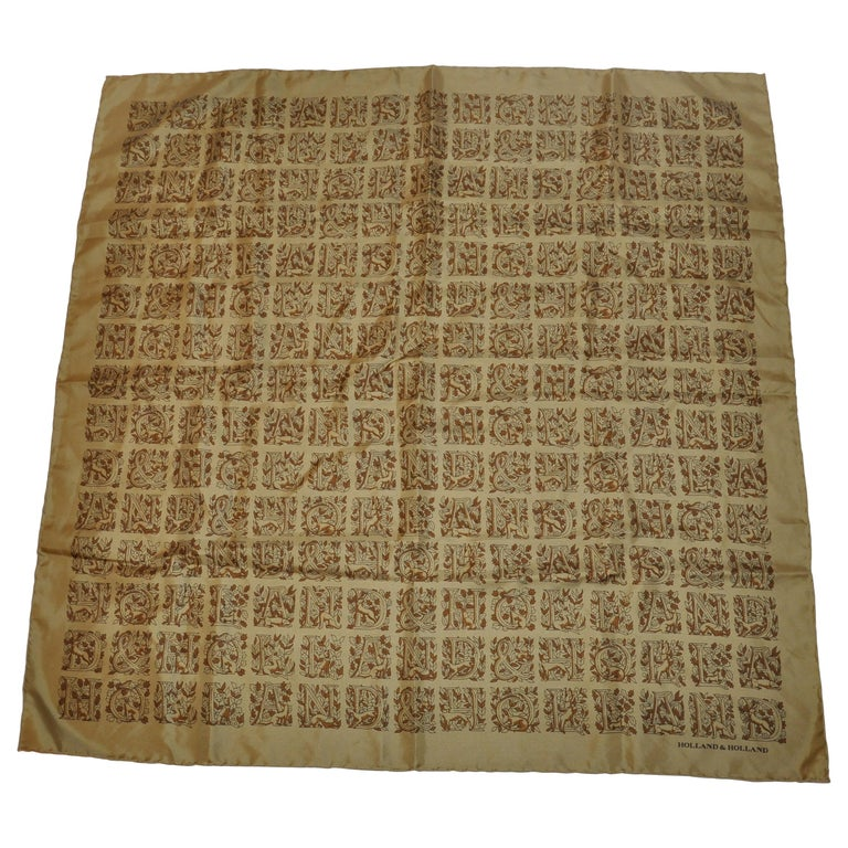 """Holland & Holland Olive-Green """"Holland, Holland, Holland"""" Sik Jacquard Scarf For Sale"""