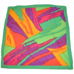 "Honey ""Bold Burst of Colors"" with Green Borders Scarf"