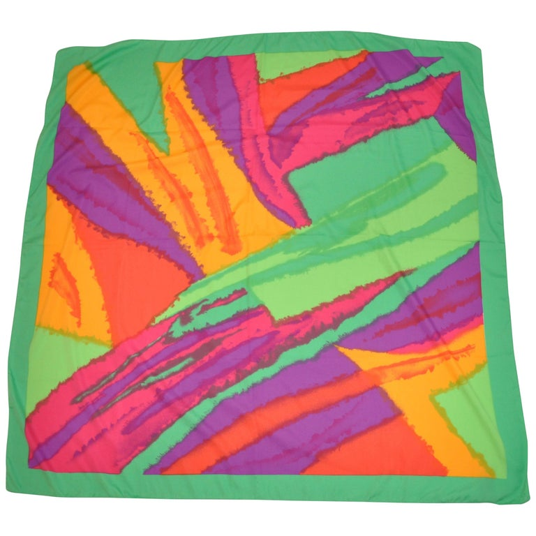 """Honey """"Bold Burst of Colors"""" with Green Borders Scarf For Sale"""