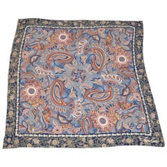 "Huge ""Bursting Palseys & Florals"" with Navy Floral Borders Silk Scarf & Shawl"