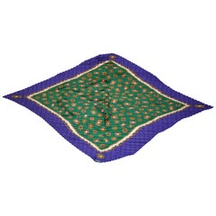 "Ginnie Johansen (1988) ""Multi Jewels"" with Rich Violet Border Pleated Silk Scarf"