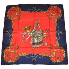 "Echo Elegant ""The Hunt"" with Navy Borders Silk Scarf"