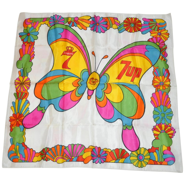 """Iconic Vivid """"Mod Butterfly"""" by Peter Max for Seagram's & 7Up Acetate Scarf For Sale"""