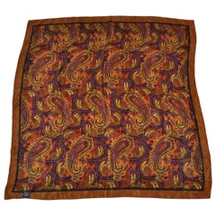 Honey Wonderfully Rich Hues of Browns Palseys with Brown Borders Silk Scarf