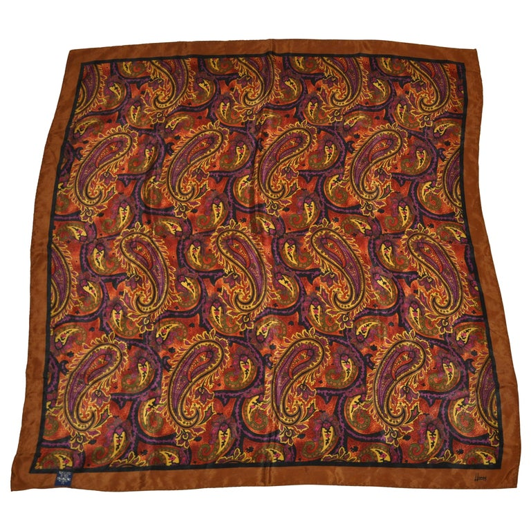 Honey Wonderfully Rich Hues of Browns Palseys with Brown Borders Silk Scarf For Sale