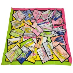 "Bob Mackie Large ""Collections"" with Fuchsia & Neon Green Borders Silk Scarf"