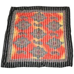 "Multi-Color ""SunBurst With Palseys"" with Black Borders Silk Chiffon Scarf"