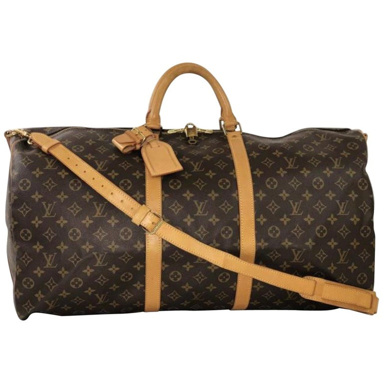 Louis Vuitton Monogram Keepall Bandoliere 60 Travel Duffel Handbag