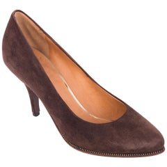 Givenchy Brown Suede Zipper Trimmed Mid Pumps
