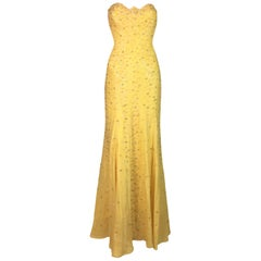 F/W 1995 Documented Gianni Versace Couture Yellow Beaded Strapless Gown Dress
