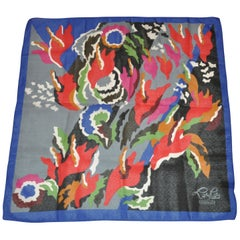"Cacharel Iconic Multi-Color ""LouLou Florals"" Accented with Blue Borders Scarf"