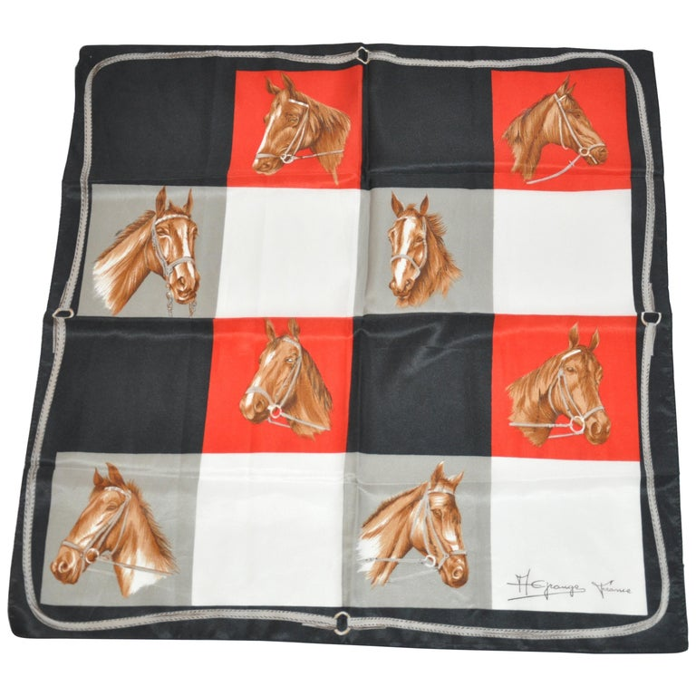 "McFrango (France) ""Portrait of Horses"" Scarf For Sale"