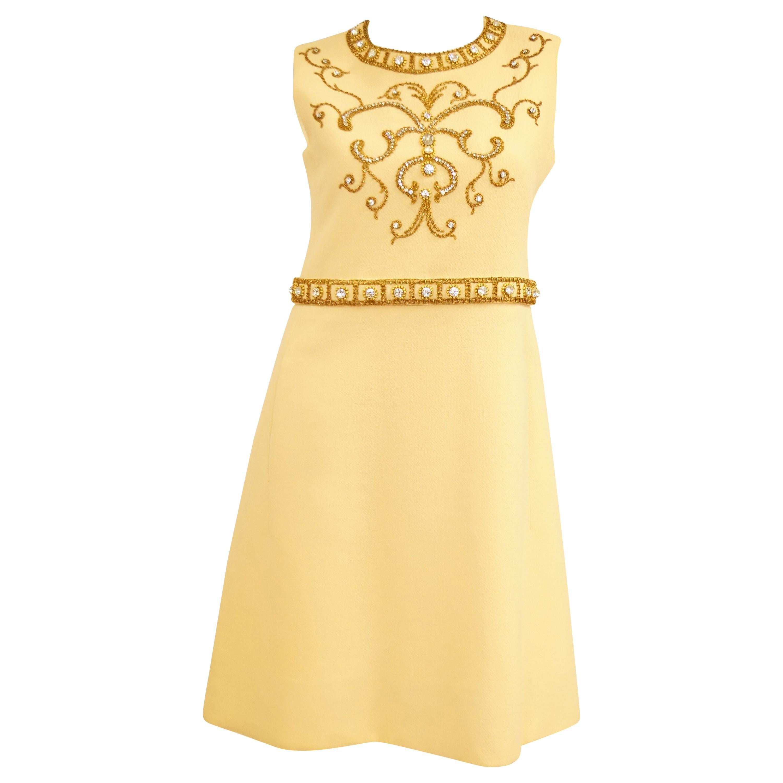 1960s Couture Cardinali Mod Shift Dress W/ Rhinestones & Gold Passementerie