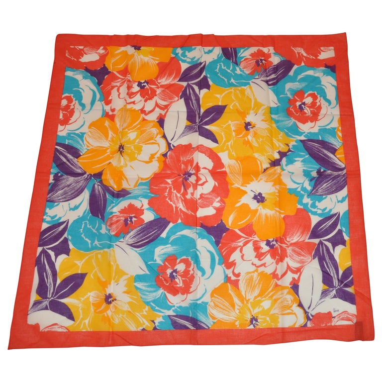 Honey Wonderfully Vivid Multi-Color of Multi Florals Cotton Scarf For Sale