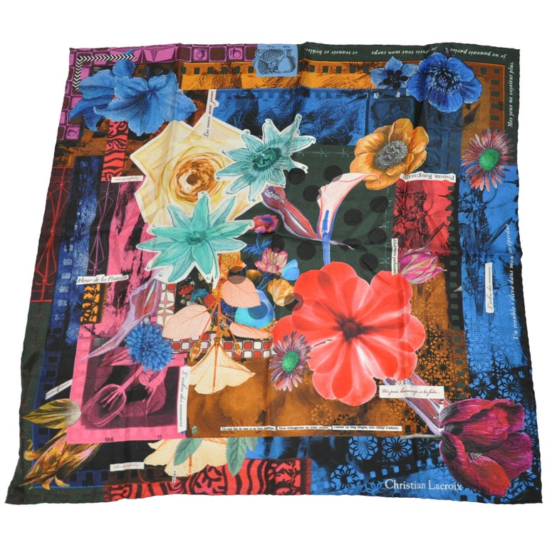 Christian LaCroix Multi-Color Bold Abstract Florals Silk Jacquard Scarf For Sale