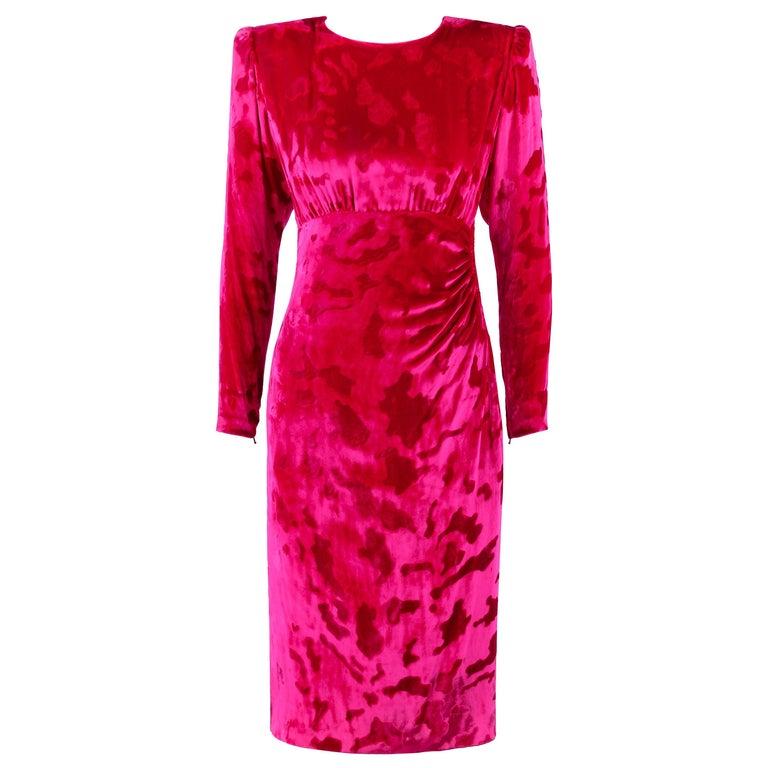 GIVENCHY c.1990's Haute Couture Fuchsia Pink Leopard Print Velvet Evening Dress